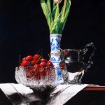 Cherries, Tulips, Silver, Crystal and Dutch Vase