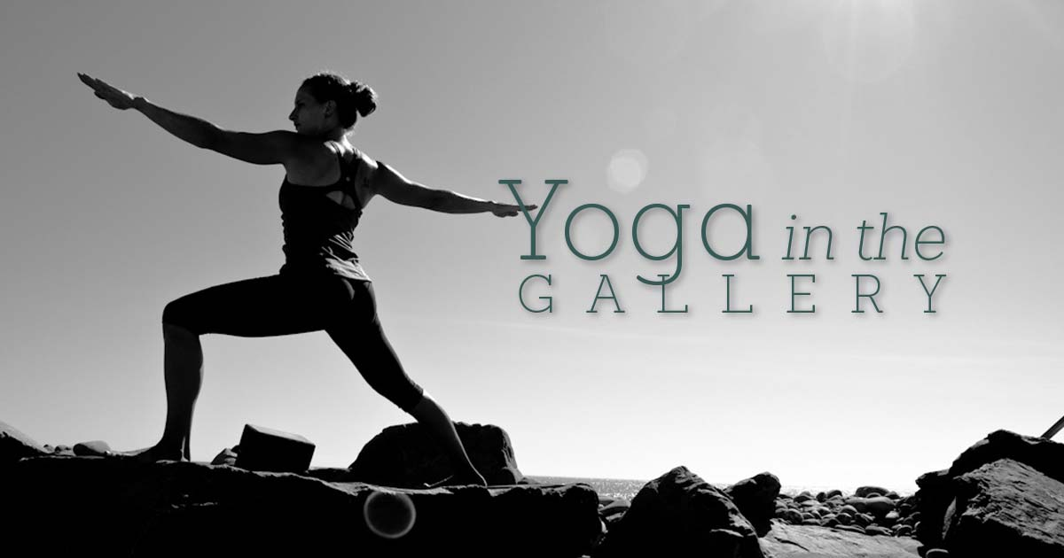 """photo of woman doing yoga pose on a rock at the beach with text that says """"Yoga in the Gallery"""""""