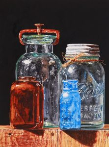 "Photo of ""Four Jars on Box,"" watercolor painting by Laurin McCracken"
