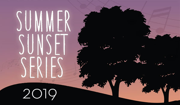 Summer Sunset Series 2019. Illustration of silhouetted trees on rolling ground.