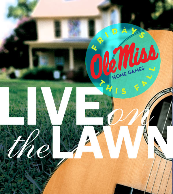 Live on the Lawn ad with the Walton-Young house in the background and guitar in the foreground. Live on the Lawn Concert Series home game Fridays this fall.