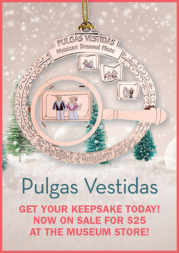 """Pulgas Vestidas"" 2019 Keepsake Ornament available at the Museum Store for $25"