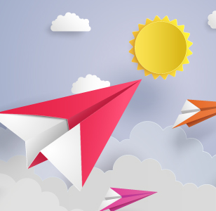 paper airplanes and sun graphic